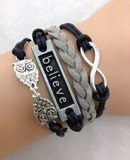 Bracelet noir et gris couple de hiboux  believe et lien infini