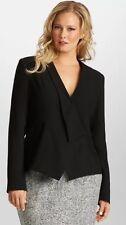 NEW MYNT 1792 Black Crepe City Chic Peplum Wrap Blazer Jacket 24W 3X Lane Bryant