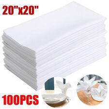 WHITE COTTON RESTAURANT DINNER CLOTH LINEN NAPKINS PREMIUM 100pcs US Seller
