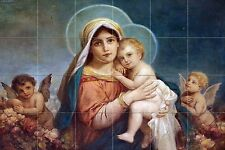 Madonna and child Tile Mural Kitchen Bathroom Wall Backsplash 25.5x17 Ceramic