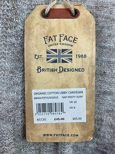 Bnwt Rrp £45 Fat Face Beige Organic Cotton Libby Pockets Cardigan Uk 10 #5