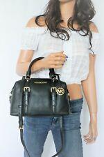 NWT Michael Kors Ginger Small Duffle Satchel Pebbled Leather Shoulder Bag Black