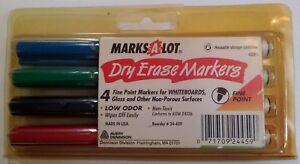 Vintage 4 Pack Marks-A-Lot 4 Color Set Dry Erase Markers Avery Dennison USA!