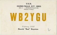 QSL GLENS FALLS N.Y. UNITED STATES USA RADIO AMATORI CARD 1967