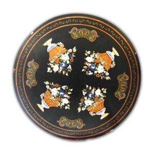 Black Marble Dining Table Top Pietra Dura Inlay Art Handmade Garden Decors B439