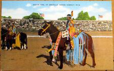 1940 Native American Postcard: Indian Girl at Umatilla Indian Agency, Horse