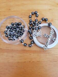 Black Glass Hematite Rosary with Presentation Box Catholic Gift
