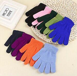 KIDS Magic Gloves Pair Winter Warm Girls Boys Stretch Black Soft Children Unisex