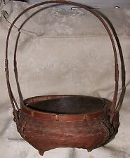 LOVELY ANTIQUE Basket Long Handle Intricate Splint Weave Tin Liner Americana