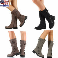 Womens Buckle Mid Calf Boots Ladies Casual Zipper Low Heel Boots Shoes Size US
