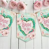 Flamingo Bride to Be Bunting  Banner Garland Hen Party Decoration Pink heart