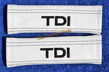 2x Nuova Cintura Spalla Pastiglie copre IN PELLE BIANCO RICAMO TDI PER AUDI