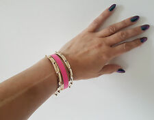 Gorgeous set of the gold tone & hot pink metal bangles  * SALE *