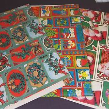 Vintage Christmas Wrapping Paper 6 Designs 8 Sheets Holly Wreath Santa 70's