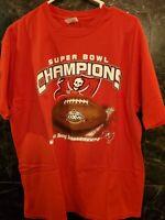 Vtg 2003 NFL Super Bowl XXXVII Mens T-Shirt XL Champions Tampa Bay Buccaneers