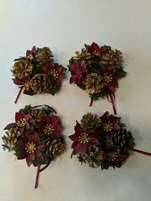 Set Of Four Holiday Poinsettia Pine Cone Candle Rings