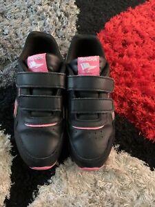 girls black velcro trainers