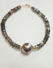 Genuine 15ct Labradorite Gray Tahitian pearl solid 14k gold bracelet