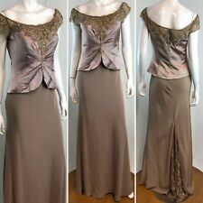 Montage Mon Cheri 10 Taupe Satin Mesh Rhinestone Beaded Maxi Dress Evening Gown