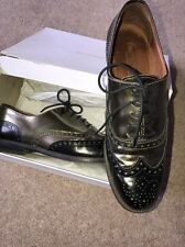 Russell & Bromley Womens lace up Brogue, UK Size 6 /.5 Black & Gold Flats