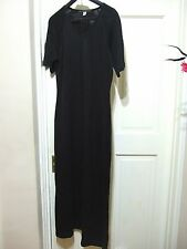 PERUVIAN CONNECTION 100% Pima Cotton Black Knitted Long Maxi Dress M uk 12