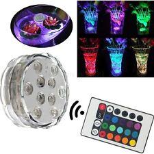 RGB 10-LED Submersible Mehrfarbig Wasserdicht Vase Basis Licht mit Fernbedienung