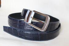 Blue Men's Belt Genuine Crocodile ,Alligator BELLY Skin Leather Belt Handmade