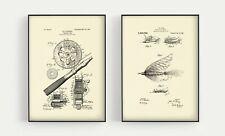 "Fly Fishing Patent Print Set - fishing art decor prints  Unframed 8.3"" x 11.7"""