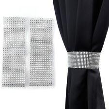 Pair of Diamante Crystal Tie Backs Silver Measures Approx 58cm Long 4cm Wide