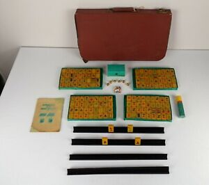 Vintage Mah Jong Chinese Domino Game with Ivory Bakelite Tiles & Case