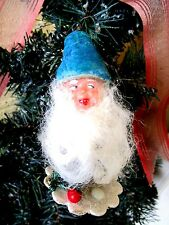 Vtg Rare Elf/Gnome Pinecone&Spun Cotton Hat&Wooly Beard Christmas Ornament