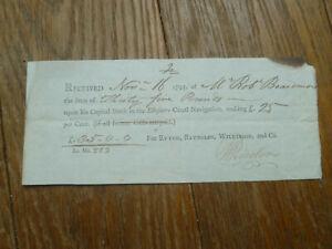 original 1795 Ellefmere (Ellesmere) Canal Navigation receipt Shropshire