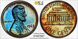 1963-P LINCOLN CENT PCGS PR65RB PROOF MONSTER TONED UNC DEEP BLUE COLOR BU