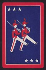 1 Single VINTAGE Swap/Playing Card SOLDIER BOYS MARCHING RIFLES + STARS Red/Blue