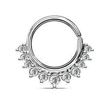 Silver Plated CZ Paved Half Circle Bendable Nose Septum/Ear Cartilage Hoop