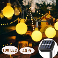 Solar String Lights 100 LED Outdoor Ball Patio Garden Wedding Fairy Light Decor