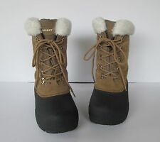 Quest Womens Pac-Fawn Black & Tan Suede Leather Winter Thinsulate Snow Boots 7