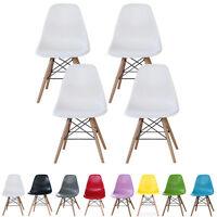 4 x Moda Eiffel DS Chairs Retro ABS Plastic White Black Grey Red Green Blue Pink