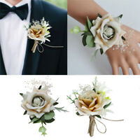 2pcs Wedding Wrist Corsage Hand Flower for Bridal Bride Groom Bridesmaid