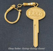 18KT GOLD CREST ESSO KEY BLANK ON VTG KEY CHAIN FORD LINCOLN MERCURY 1952-1966