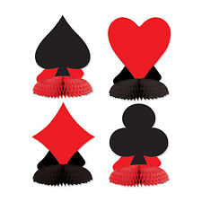4 Playing Card Suit Mini Honeycomb Centrepiece Casino Alice Table Dec 57479