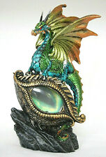 grüner Drache mit Dracheauge LED, Fantasy Figur  21 cm hoch