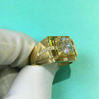2 Ct Round Cut Diamond Solitaire Men'S Engagement Ring 14K Yellow Gold Over 925