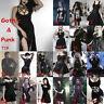 Women's Gothic Punk Party Harajuku Bodycon Vintage Split Sexy Mini Or Long Dress