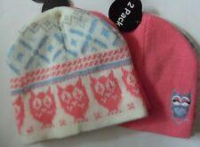 Girls 2 pack Owl detail Cream / Peach Beanie Hats 1 Peach + 1 Striped. 2-7 yrs