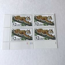 Us Postage $2 Stamps - Plate Block of (4) Lynx