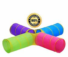 Kids fun 4-way Multi-color Play Tunnels. 8ft long w/ carry Bag. EASY EXP SHIP!!