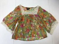 Angie size Jr small sheer floral blouse short lace 3/4 sleeve multicolor spring