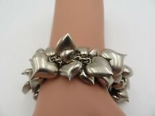 FABULOUS STERLING SILVER PUFFY HEART BRACELET 40+ CHARMS 54 GRAMS 7 INCHES