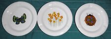3 small Ceramic  or Porcelain Ashtrays ot Dishes 4 inches Floral  Butterfly Bug